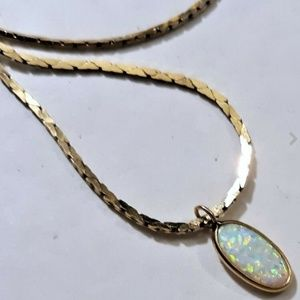 Jewelry - 14K Yellow Gold Chain Necklace w Fire Opal Pendant